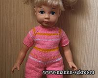 схема вязания комбинезона для куклы на спицах